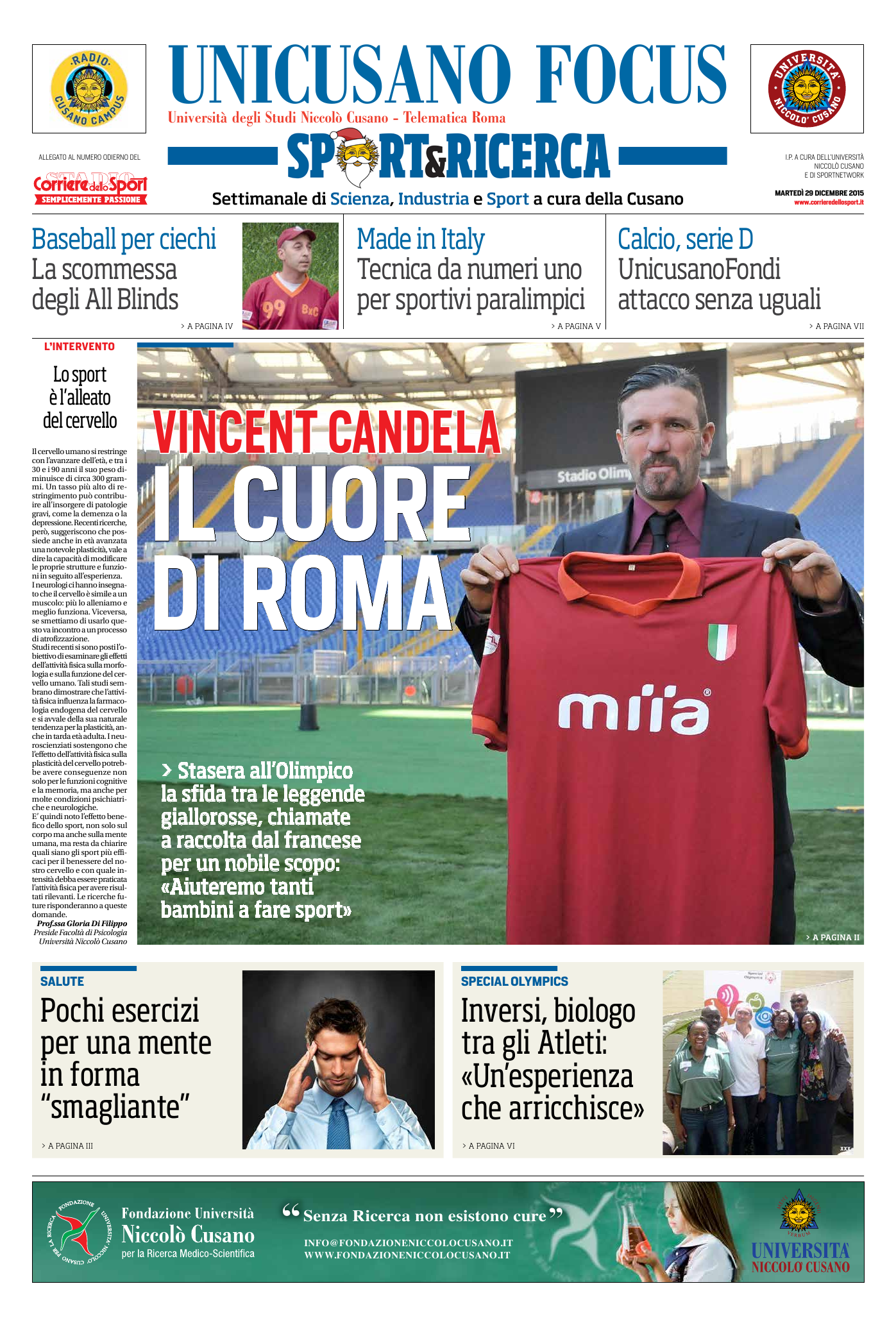 Unicusano Focus Sport&Ricerca: la prima pagina del 29 dicembre 2015