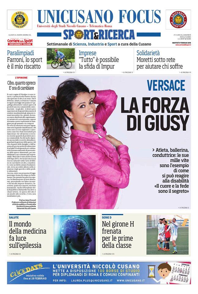 Il numero del 9 febbraio 2016 di Unicusano Focus Sport&Ricerca