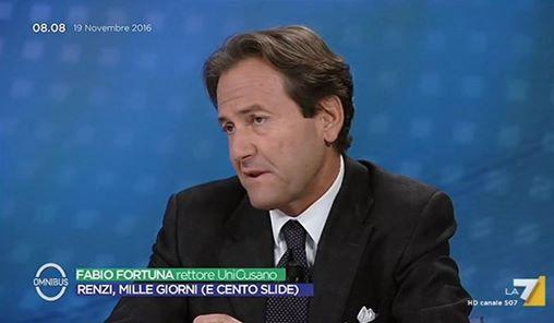 Fabio Fortuna, Magnifico Rettore della Cusano, ospite di Omnibus, su La7, l scorso 19 novembre