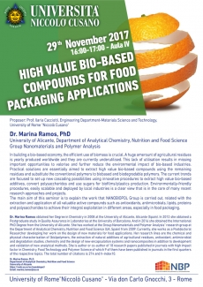 High value bio-based compounds for food packaging applications